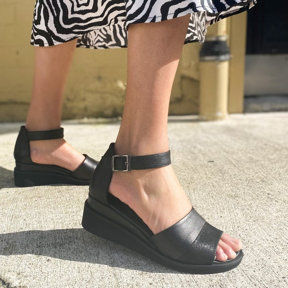 Angle Image for Birdy Leather Wedge Sandal