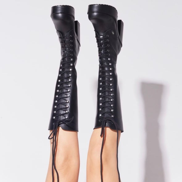 Angle Image for Lash Leather knee high laceup boot