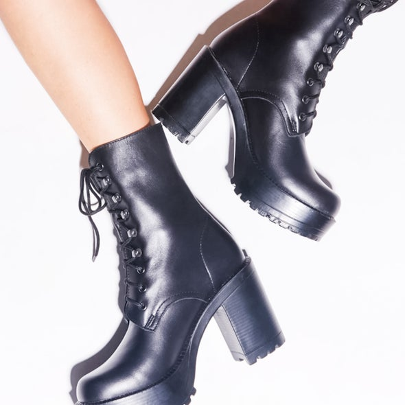 Angle Image for Lush Leather lace up Boot