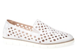 Tiara Perforated Leather Slip-on Shoe